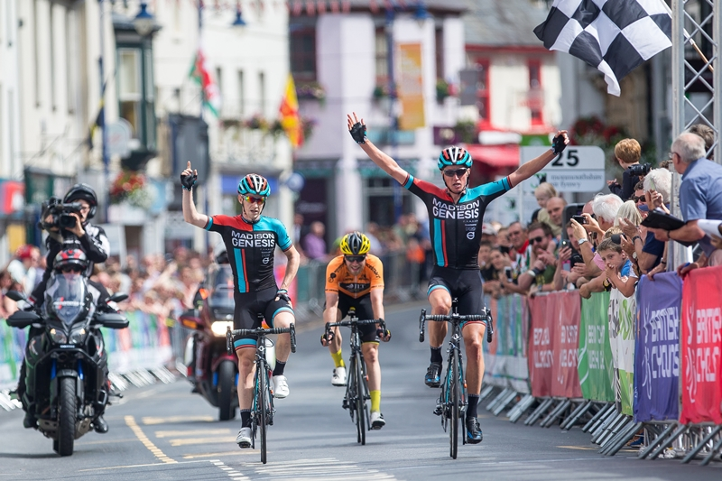 Tom Stewart from Madison Genesis sprints to victory at the Grand Prix of Wales