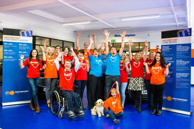 The Motorpoint team in Derby celebrate backing the world record kindness bid in September