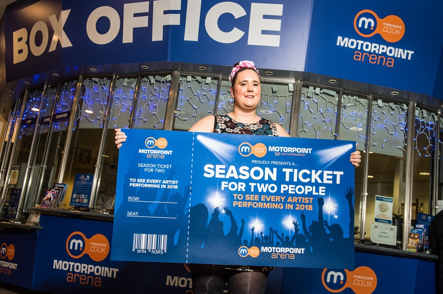 Amy Thompson beat off competition from thousands of other music lovers in the East Midlands to win a Season Ticket to the Motorpoint Arena Nottingham courtesy of Motorpoint