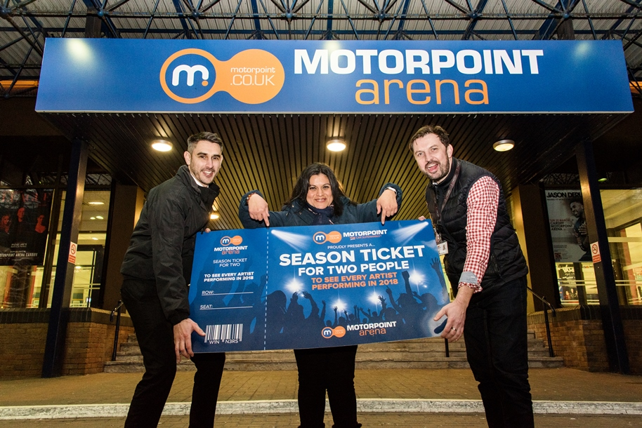 L-R Chris Brown, General Manager of Motorpoint Newport, Jenny Córdova De Lindell and Phil Sheeran, General Manager of the Motorpoint Arena Cardiff