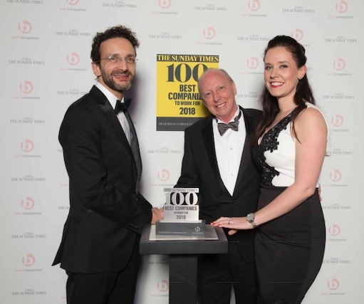Pictured from the left are Nick Rodrigues, Deputy Editor, The Sunday Times 100 Best Companies; David Shelton, Founder of Motorpoint and Cat McGuckin, HR Director at Motorpoint