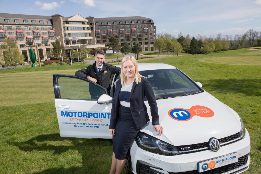 Pictured left to right are Chris Brown, General Manager of Motorpoint Newport and Gemma Smith, Sponsorship and Hospitality Manager at Celtic Manor Resort
