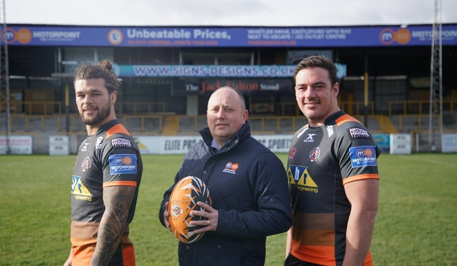 Alex Foster, Second Row, Castleford Tigers; Mick Martin-Roebuck, General Manager, Motorpoint Castleford and Grant Millington, Prop / Second Row, Castleford Tigers