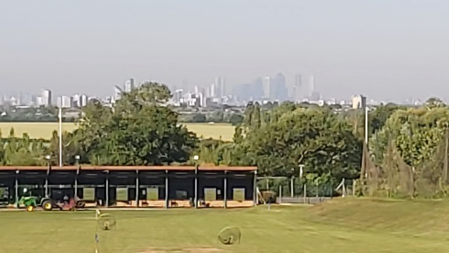 The Hainault Golf Club Driving Range overlooking Central London